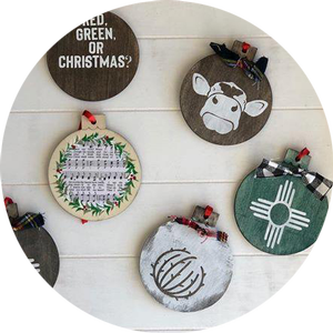 Set of five New Mexico themed Christmas ornaments